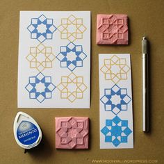 islamic art geometric arabic stamp carving block - ختم نقوش اسلامية