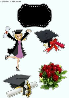 Formatura Graduation Cupcake Toppers, Graduation Banner, Graduation Cupcakes, Graduation Cap Decoration, Cap Decorations, Balloon Decorations Party, Printable Stickers, Cute Stickers, Graduation Wallpaper