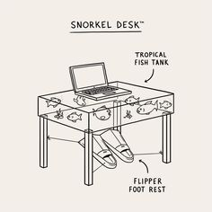 Got the post holiday blues. In need of the Snorkel Desk™ Matt Blease, Post Holiday Blues, Tropical Fish Tanks, Visual Metaphor, Line Illustration, Foot Rest, Art Direction, Toolbox, Running Shoes