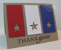 Fun patriotic card with stars punched out...maybe an idea for Eagle Scout congratulations and thank yous!