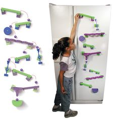 The best toys entertain as well as educate, and the Magnetic Frigits Deluxe Fridge Marble Maze handles both tasks equally well. Transform your refrigerator into Marble Tracks, Magnetic Paint, Wall Game, Marble Maze, Mundo Geek, Cool Toys, Awesome Toys, Awesome Gadgets, Kawaii