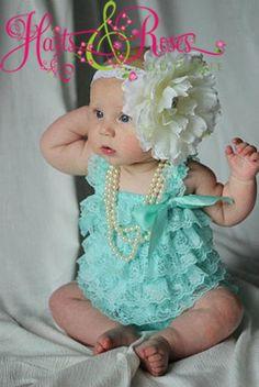Aqua Lace Petti Romper.Aqua Romper-Baby bubble lace romper.Birthday Outfit.Onesie.Newborn coming home outfit.Newborn Baby Girl. $17.95, via Etsy.