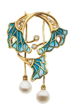 Diamond, Plique-a-Jour Enamel, Gold Jewelry Suite The suite includes a brooch and a matching pair of earrings featuring full-cut diamonds that weigh a total of approximately 0.25 carat, enhanced by enamel, set in 18k gold, marked Spain.
