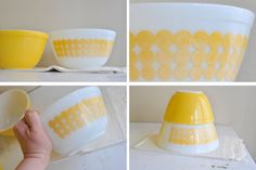 Two Bowls /// Yellow NEW DOTS // Polka Dot // and by TheWildPlum, $28.00