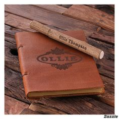 Rustic Wooden Pen and Brown Leather Travel Journal