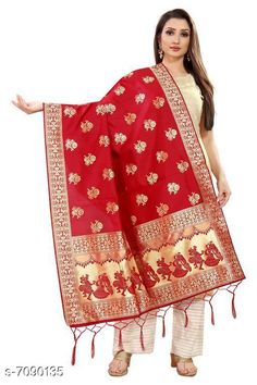 Checkout this latest Dupattas Product Name: *Stylish Women's Dupatta* Fabric: Silk Pattern: Woven Design Multipack: 1 Sizes:Free Size (Length Size: 2.2 m)  Country of Origin: India Easy Returns Available In Case Of Any Issue   Catalog Rating: ★4 (407)  Catalog Name: Stylish Women's Dupattas CatalogID_1131560 C74-SC1006 Code: 172-7090135-606