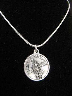 Heart handcuffs pendant police handcuffs necklace white gold catholic archangel st michael pendant by thecherishedbead on etsy aloadofball Gallery