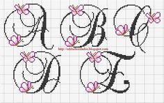 A-E butterfly cross stitch alphabet