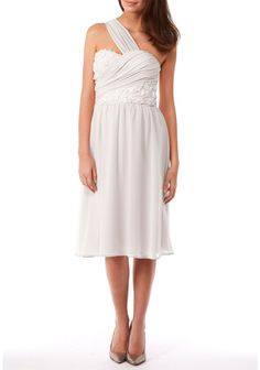 Knee length one shouldered Grecian Wedding Dress from Little Black Dress is darling and costs just £52.