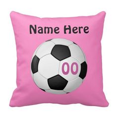 Girls Pink PERSONALIZED Soccer Pillow with her NAME, Jersey NUMBER (or Monogram). Type them into the 2 text boxes. The back is just her Name and Number (or Monogram).CLICK: http://www.zazzle.com/pink_personalized_soccer_pillows_name_number-189875933300860873?rf=238147997806552929 ALL Personalized SOCCER Gifts CLICK this LINK: http://www.zazzle.com/littlelindapinda/gifts?cg=196770565308814581&rf=238147997806552929  http://www.Zazzle.com/LittleLindaPinda*  Decor for Soccer Bedroom for Girls.