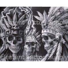 Indian Skull Tattoos, Mexican Art Tattoos, Aztec Drawing, Mayan Tattoos, Chicano Art Tattoos, Aztec Tattoo Designs, Cholo Art, Lowrider Art, Aztec Warrior