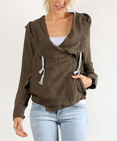 Love this Olive Draped Hoodie on #zulily! #zulilyfinds