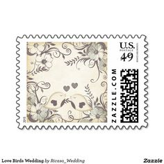 Love Birds Wedding Postage Stamps