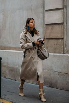Trench Coat with Statement Earrings