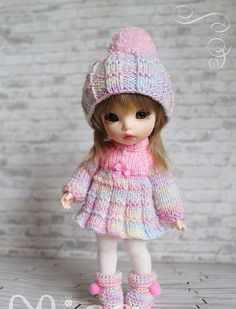 Lati Yellow Fairyland Pukifee BJD : OUTFIT ONLY Winter Pink (No Doll!):