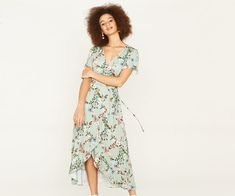 Oasis, FITZWILLIAM MIDI TEA DRESS Multi Green 1