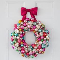 Merry and Bright Christmas Wreath | Martha Stewart Living — Hannah Milman combines her love of wreaths and her passion for vintage Christmas ornaments in one simple, stunning holiday project.