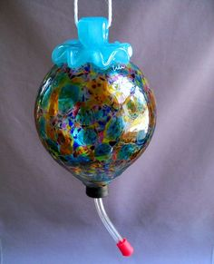 Image detail for -Hand Blown Art Glass Hummingbird Feeder by Route4glass on Etsy