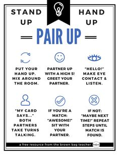 Awesome ideas for Stand Up, Hand Up, Pair Up in 5th grade and 1st grade! Plus, a free classroom poster for this Kagan cooperative learning strategy! (The Brown Bag Teacher)