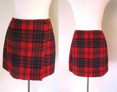 Wrap Mini Skirt Red Wool Plaid Size 10 DKNY by rileybellavintage, $34.00