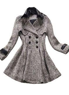 Grey Lapel Long Sleeve Ruffles Buttons Coat