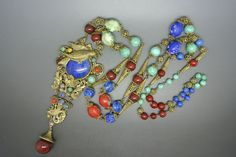 Vintage Czech Neiger Art Deco bird dragon red lapis peking glass necklace
