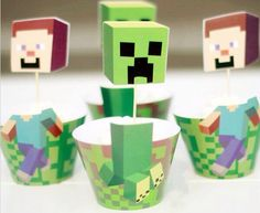 Minecraft cupcake wrappers and toppers.
