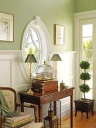 Sage green with brown, lounge and hallway.....