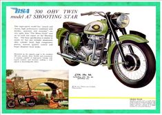 """1960 BSA Motorcycles brochure page SHOOTING STAR_super-sports model that has punch and charm, high performance combinated with docility, quietness and economy"""". Ajs Motorcycles, Bsa Motorcycle, Motorcycle Posters, British Motorcycles, Vintage Motorcycles, Motorcycle Types, Classic Motorcycle, Motorcycle Garage, Vintage Bikes"""