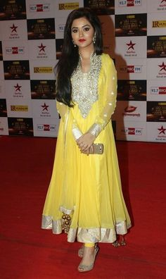 Actress Ragini Nandwani Traditional Photos in Bright Yellow Designer Anarkali Dress
