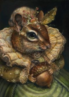 """pagewoman: """" The Duchess of Oak Nut Thumbelina and the Four Seasons by Annie Stegg """" Lapin Art, Art Fantaisiste, Fairytale Art, Art And Illustration, Whimsical Art, Animal Paintings, Oeuvre D'art, Pet Portraits, Illustrators"""
