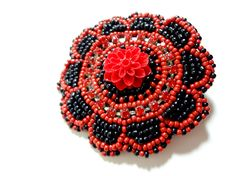 Sparkling Red and Black Gotchic Hair Clip   Megan's Beaded Designs