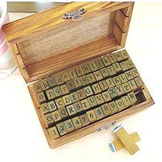 alfabeto, números y símbolos de madera con sellos de goma - 70 piezas en caja de la vendimia [ARTUROLUDWIG]