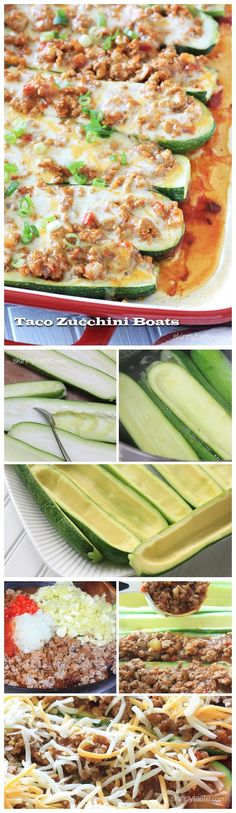 Taco stuffed zucchini boats! Could take out cheese (or lessen the amount) for even healthier option.
