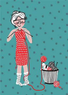 Postcard with a Girl knitting her own dress 105 cm x 148 cm Knitting Quotes, Knitting Humor, Knitting Blogs, Baby Knitting, Knitting Patterns, Quick Crochet, Knit Crochet, Yarn Bombing, Knitted Bags