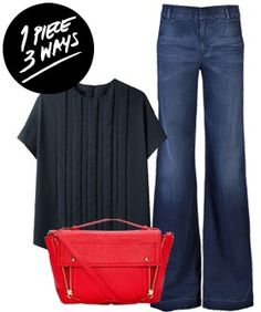 How To Wear Wide Leg Jeans - Easy Outfits For Fall | Wear wide-leg jeans in a multitude of ways- we show you three ways to easily style a pair of wide-legged denims. #refinery29 http://www.refinery29.com/wide-leg-jeans