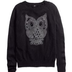 H&M Owl sweater Sequined owl with no missing gems. Still in good condition. H&M Sweaters Crew & Scoop Necks