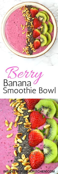 This Berry Banana Smoothie Bowl is filled with delicious berries, banana, honey and is topped with chopped fruit and toasted pine nuts.