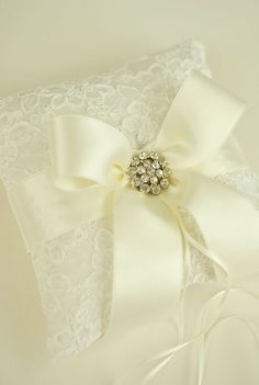 Ivory Ring Bearer Pillow  Alencon Lace Ring by weddingsandsuch, $47.00