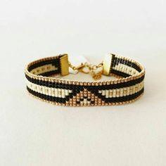 Bead loom bracelet Romantic Night - friendship bracelet, beaded bracelet, miyuki bracelet, bead bracelet Stylish, made of Miyuki beads in Handmade Jewelry Bracelets, Bead Loom Bracelets, Woven Bracelets, Bijoux Diy, Fashion Bracelets, Owl Bracelet, Handmade Jewellery, Bead Loom Patterns, Bracelet Patterns