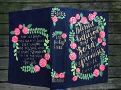 Hand Painted Bible by Hosanna Revival. Painted Bible Verses make a great Christian Gift! Bible Journalling is a fun way to connect with the word through your creativity.