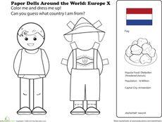 Paper Dolls Around the World: Europe X Worksheet Around The World Theme, Kids Around The World, Holidays Around The World, Around The Worlds, Social Studies Worksheets, Worksheets For Kids, Multicultural Activities, Culture Activities, Paper Doll Template