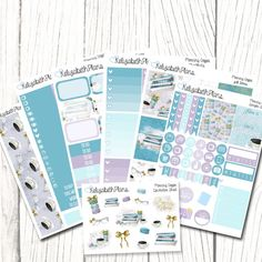 A mixture of functional and decorative stickers for your planner. Available in both Erin Condren AND Happy Planner sizes (Please select the appropriate sizing from the drop down menu). - ( You will receive ) - Six sheets (5 x 7 approx.) consisting of:  A sampler set Full Boxes Half Boxes Headers Appointment Markers Dots Ombre Checklists Little Things Washi strips And one decorative sheet ( 5 x 3.5 approx.) - ( Please note ) - Colours may vary from monitor to monitor and all stickers are…
