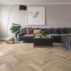 Karndean Knight Tile Lime Washed Oak Herringbone Vinyl Flooring - Home and Interior Design - Living Room Flooring, My Living Room, Kitchen Flooring, Living Room Decor, Hallway Flooring, Karndean Knight Tile, Karndean Flooring, Oak Wood Flooring, Herringbone Tile Floors