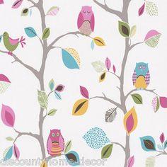 Owls & Birds Kids Wallpaper (darker) 8563-26 white taupe yellow blue pink green | eBay