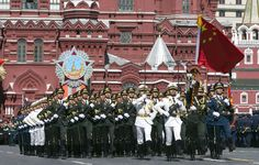 The Chinese People's Liberation Army Guard of Honor marching through Red Square at the dress rehearsal for the 2015 Moscow Victory Day Parade.