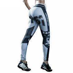 Oakland Raiders Yoga Pants. Oakland Raiders Design Stretch Workout Leggings / Fitness Tights / Dance Pants. Oakland Raiders Leggings.