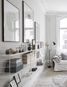 Living room with string shelves on the wall The Best of inerior design in - Interior Design Ideas for Modern Home - Interior Design Ideas for Modern Home Living Room Inspiration, Interior Design Inspiration, Shelf Inspiration, Home Interior, Interior Architecture, Kitchen Interior, Home Living Room, Living Spaces, Small Living