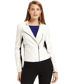 Calvin Klein Jacket, Perforated Faux-Leather Colorblock Moto - Jackets & Blazers - Women - Macy's