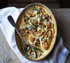 Baked conchiglioni with sausage, sage & butternut squash